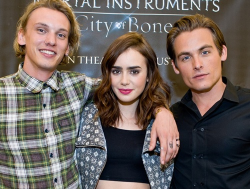 Lily Collins, Jamie Campbell Bower, And Kevin Zegers Of THE MORTAL INSTRUMENTS In Chicago