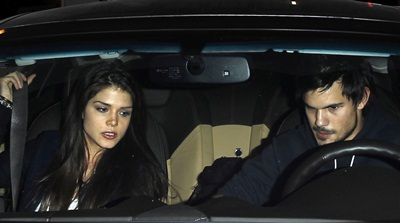 *EXCLUSIVE* Taylor Lautner and Marie Avgeropoulos hold hands after a dinner date